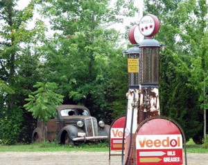 Old Car at old gas station in Oakdale, Ontario, Canada