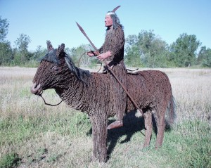 Barbed Wire Indian Chief and Horse - Sod House Museum - Gothenburg, Nebraska