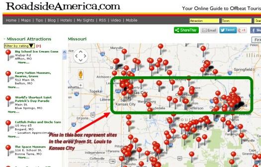 Roadside America Missouri Attractions Map