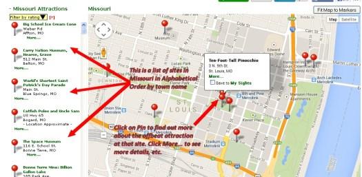 Roadside America Map of downtown St. Louis
