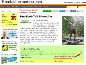 A typical Roadside America Attraction Page