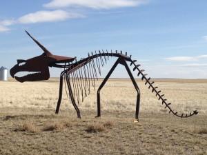 Giant Scrap Metal Triceratops - near Rudyard, Montana