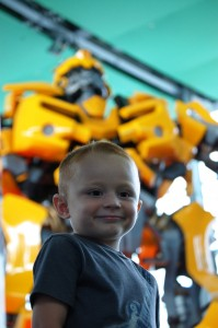 Grandson Landen is loving his visit with Bumblebee