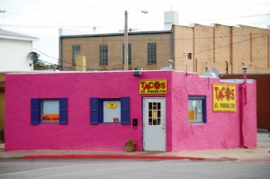 Tacos anyone? - A Pink building in the middle of small town America.  Priceless!