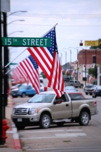 Flags hang all along main street in Nebraska City on 9/11