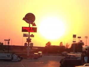 Sunset in Walcott, IA at the World's Largest Truck Stop