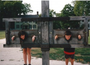 Chelsea and Solomon were acting up so we had them put in a pillory in Jamestown.