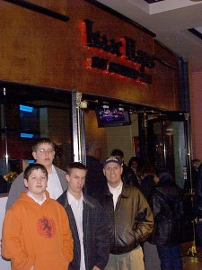 Seth and Solomon with friends from Murray, UT visiting Beale Street in Memphis, January 2001