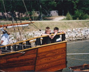 Seth and Sol on deck of one of the ships in Jamestown in August 1995