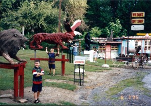 lions and tigers and eagles Oh My - our first offbeat attraction at Wilson's in Ansted, WV - August 1995