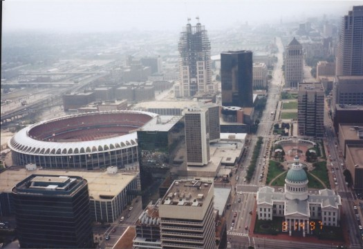 View of downtown St. Louis form the top of the Gateway Arch in Sept. 1997