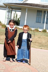 Jos and Landen at Gothic House in Eldon, IA - Sept 2013