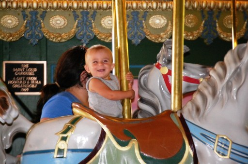 Lyla rides the old 1930s St. Louis Carousel in Sept. 2013