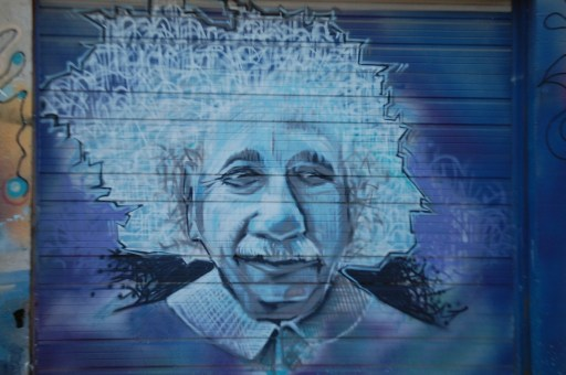 Einstein on garage at DC Electrical on Manchester