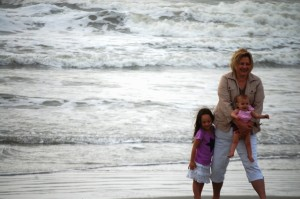 Joselyn and sister Lyla with Grandma Julianne on the beach of the Atlantic Ocean on Hilton Head Island, April 2013