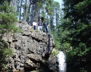 Climbing up to the top of Memorial Falls in Montana - Julianne, Aaron (son in law), Kade and Solomon - Sept 2007