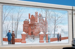 The Howard House - one of 12 floodwall murals in Jeffersonville