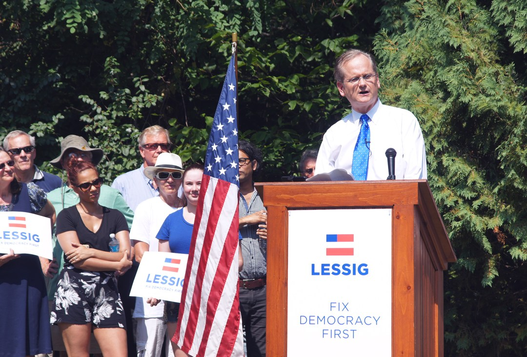 Larry Lessig announces his 2016 presidential candidacy.
