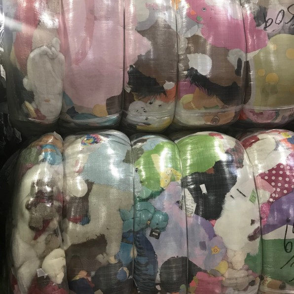 Bales of donated stuffed animals. Again, this will be sold to different countries.