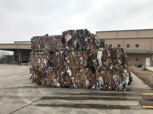 Bales of recycled paper at the single stream recycling plant.