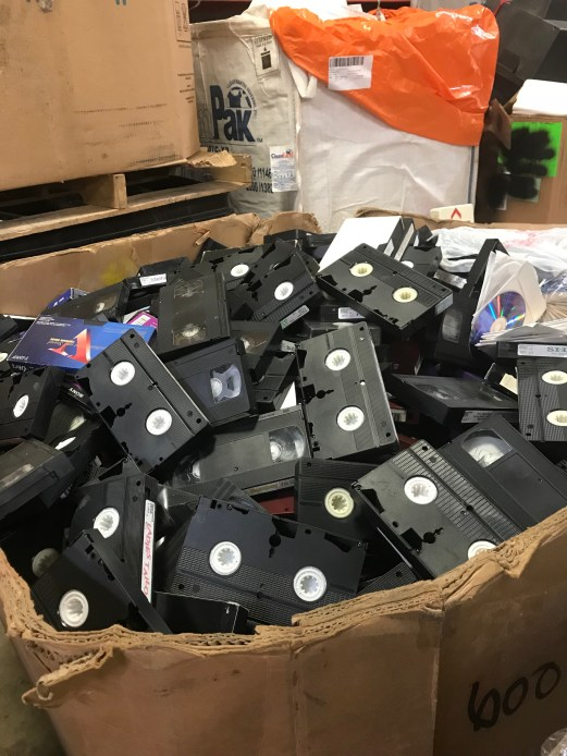 Old VHS tapes that will be taken apart and recycled.