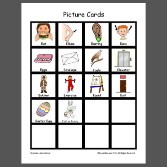 Letter E Picture Cards