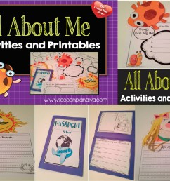 ALL About Me First Week of School Activities! First Day Jitters FREEBIE! -  The Lesson Plan Diva [ 2166 x 3068 Pixel ]