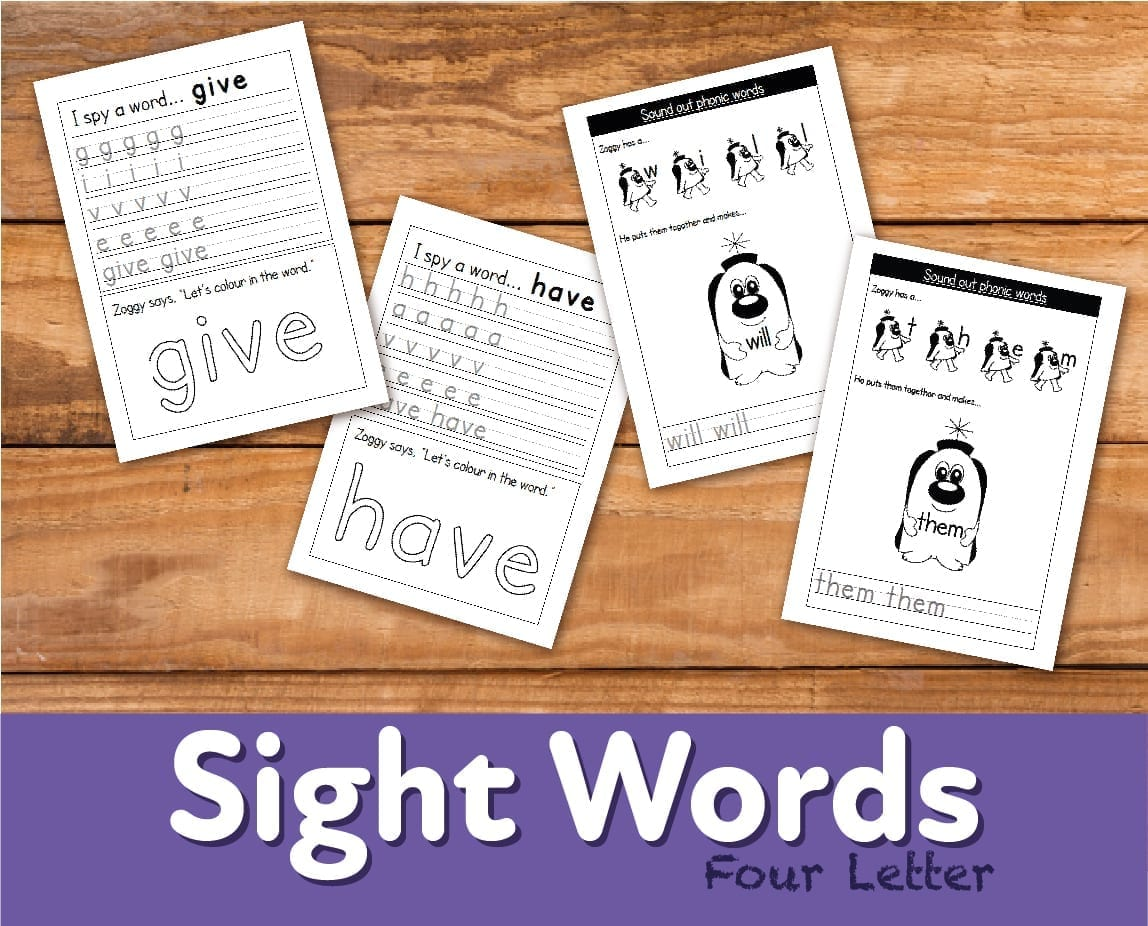 Worksheets To Reinforce Four Letter Sight Words 4 7 Years