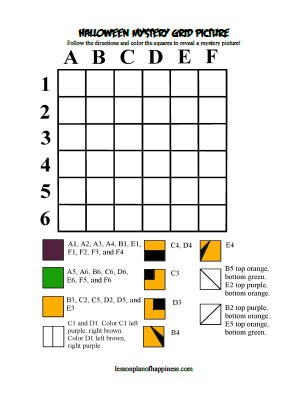 » Pumpkin Mystery Grid Picture Lesson Plan of Happiness