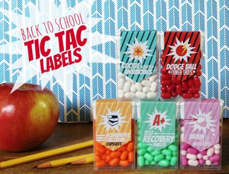 Back To School Tic-Tac Labels