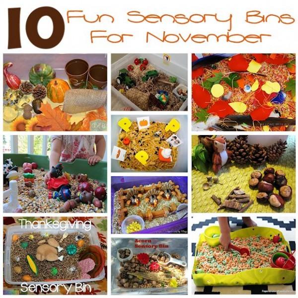 10 Fun Sensory Bins for November