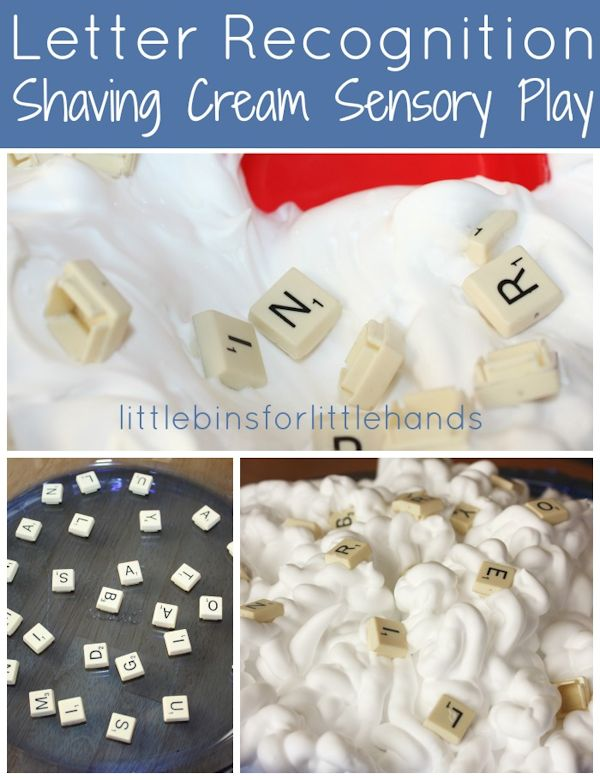 Letter Recognition Shaving Cream Sensory Play