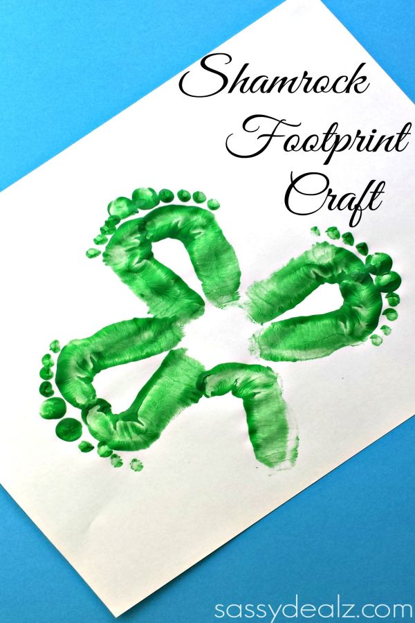 Kids Shamrock Footprint Craft