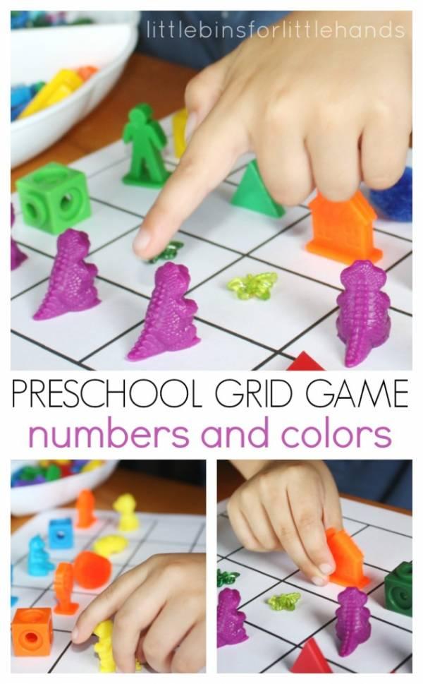 Preschool Numbers and Colors Grid Game