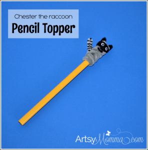 Chester the Raccoon Pencil Topper
