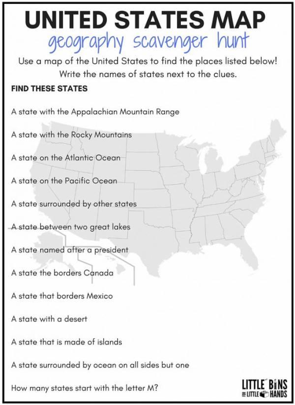 United States Geography Scavenger Hunt