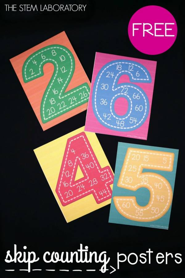 Help kids learn skip counting with printable posters.