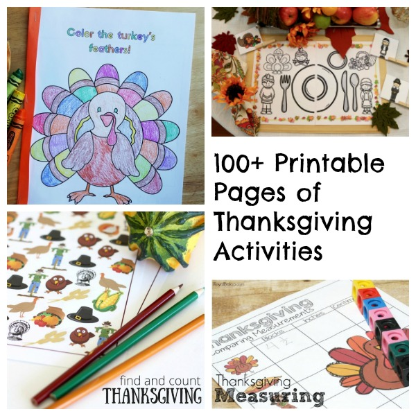 Thanksgiving printable learning activities