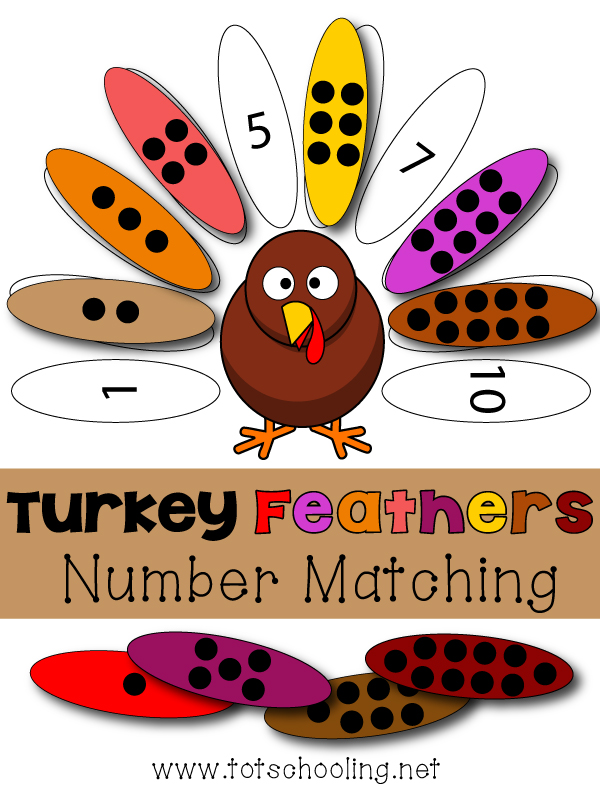 turkey feather number matching activity