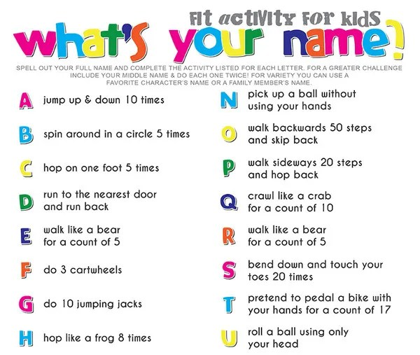 alphabet workout for kids