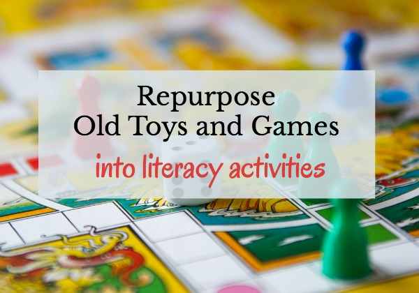 reuse games and toys for literacy activities