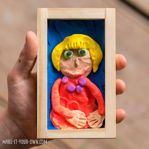 Mother's Day portrait made out of clay.