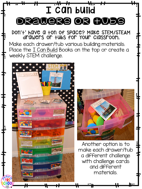 make STEM drawers to hold materials