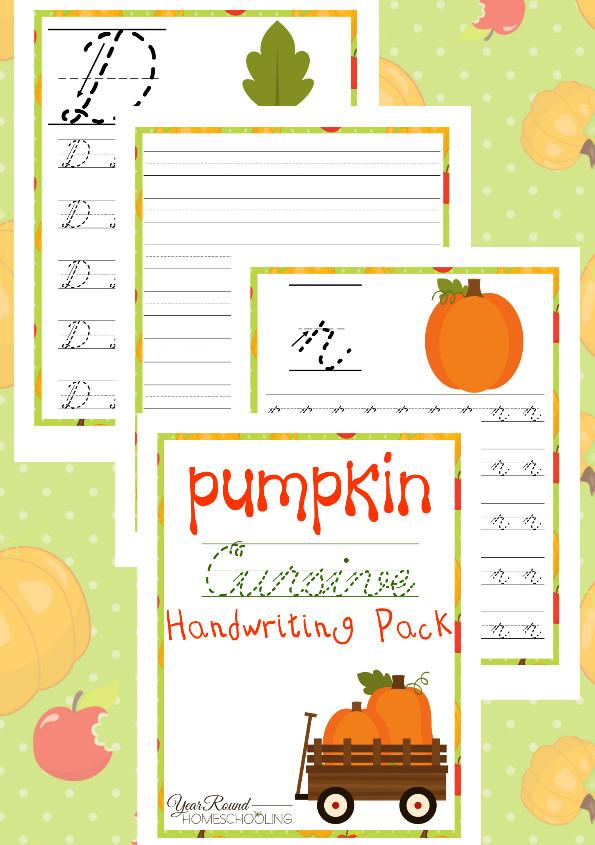 pumpkin cursive practice pages