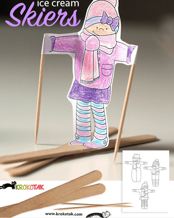 craft stick skier printable