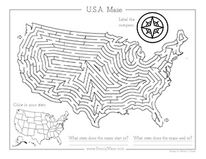 Patriotic Mazes to Print for Kids