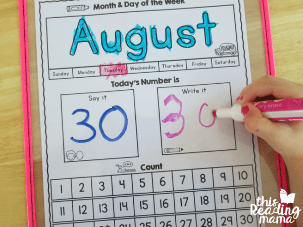 calendar learning printables