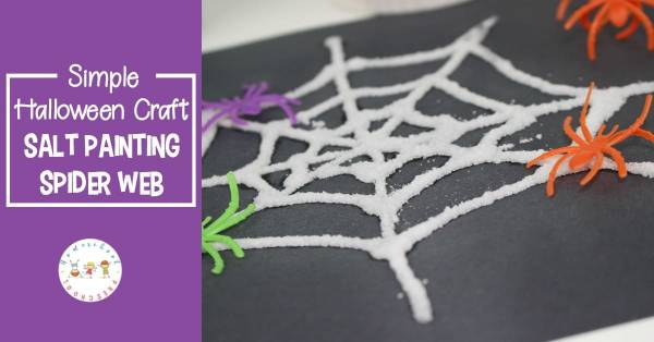 salt spider web kids art activity