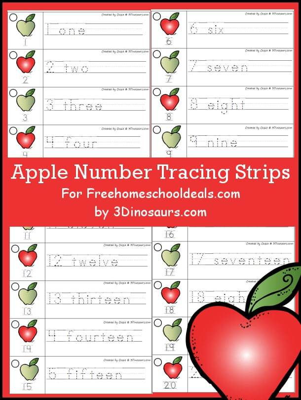 apple number tracing strips