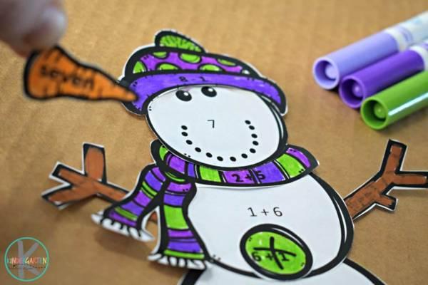 snowman math activity